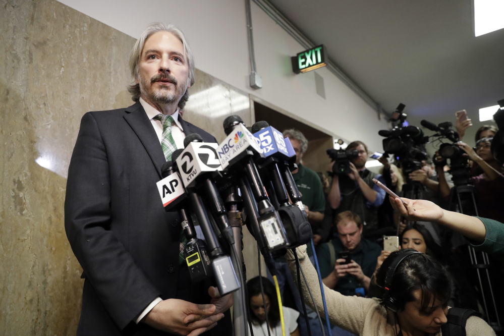 Matt Gonzalez, chief attorney of the San Francisco Public Defenders Office, fields questions after Thursday's verdict in the trial of Jose Ines Garcia Zarate in San Francisco. Gonzalez had told jurors that Garcia Zarate had no motivation to kill Kate Steinle.