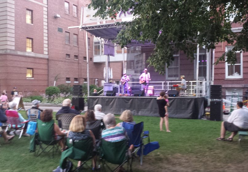 The Pete Kilpatrick Band entertains a gathering at Castonguay Square in the first of four installments last summer of Waterville Rocks! adjacent to the Waterville Opera House and sponsored by Waterville Creates! and local businesses.