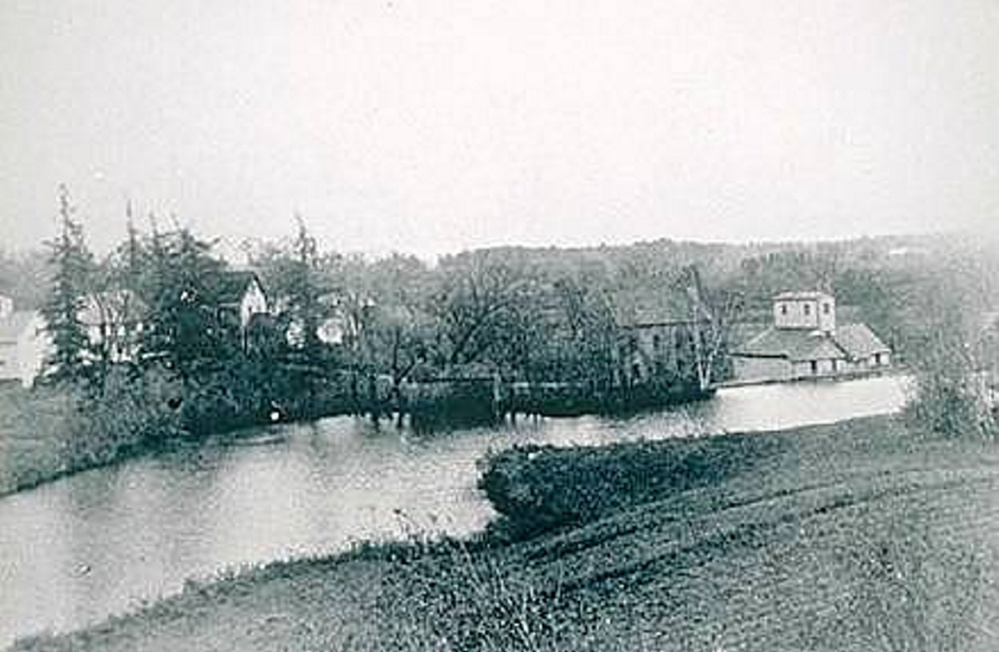 This photo, taken 125-150 years ago, depicts the area where the American chestnut and a heavy growth of other tree species exist today. In the distance is the grist mill and saw mill that once operated on Factory Square.