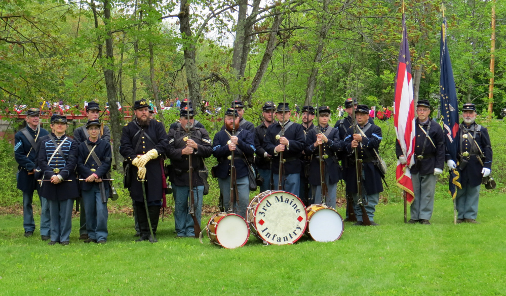 The Third Maine Civil War re-enactors will lead the way in a Veterans Day Readfield history walk on Nov. 11. Present in the photo, though not in order, include Capt. Matt Bray, Surgeon Scott Scoggins, Drummer Dave McCusker, Drummer Sean Moore, Fifer Monica McCusker, Fifer Lucy Cunningham, 1st Sgt. Steve Peterson, 2nd Sgt. Bob Pierce, 1st Cpl. Jay Carter, 2nd Cpl. Rick Lajoie, 3rd Cpl. Dereck Thomas, Color Bearer Rick Bray, Color Bearer Joe Donahue, Pvt. Tracy Levesseur, Pvt. Dan Cunningham, Pvt. Alpha Williams, Pvt. Gavan Williams and Pvt. David Johnson.