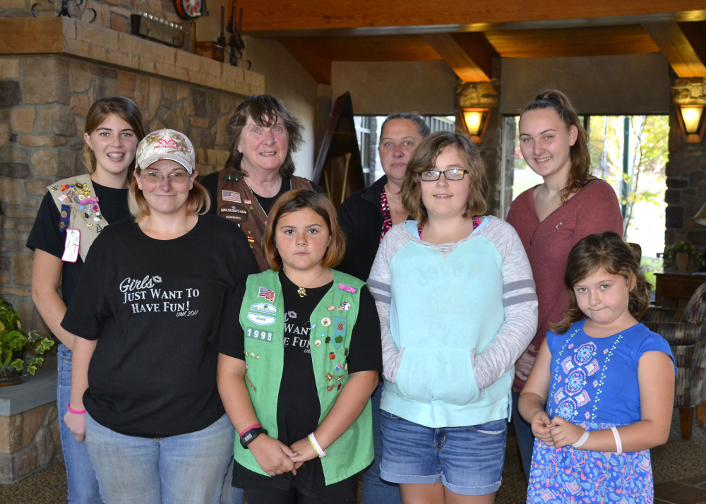 Members of three Girl Scout troops from Temple, 3191, 1998 and 1826, from left, Alexis Meisner, Patty Toothaker, Rita Smith, Paige White, Anissa Allumbough, Reese Rackliff, Natasha Donald and Kamryn Alexander, recently stopped by the Martha B. Webber Breast Care Center in Farmington to donate 47 care packages for its patients. The bags contained items to help pass the time such as puzzles with pencils, books and inspirational messages.