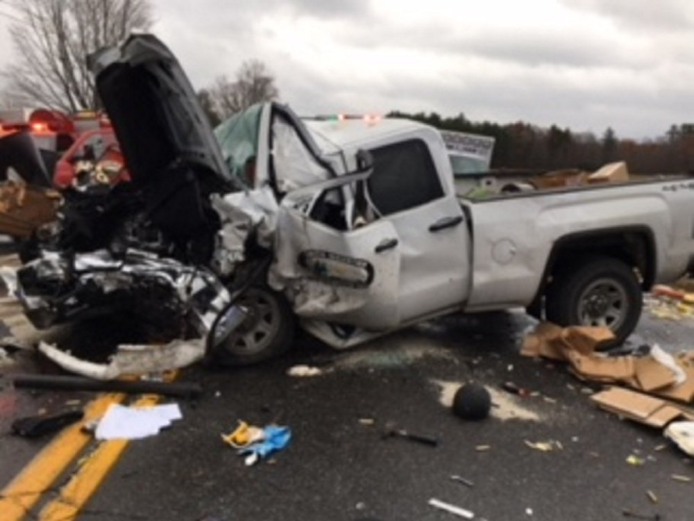 This GMC pickup reportedly crossed the centerline on Route 201A in Norridgewock and crashed head-on into a Jeep Liberty.