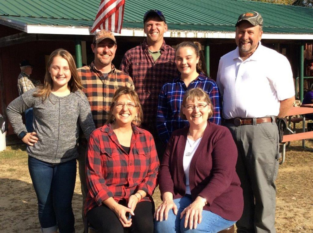 Seven members of Raymie Macomber's family attended the Wilton Fish & Game Open House, in front, from left, are Raymie's daughters Deb Trask and Donna Macomber. In back, from left, are his great-granddaughter Ashlyn Macomber, grandsons Jonathan Macomber and Andrew Trask, great-granddaughter Ryleigh Macomber, and son Dan Macomber.