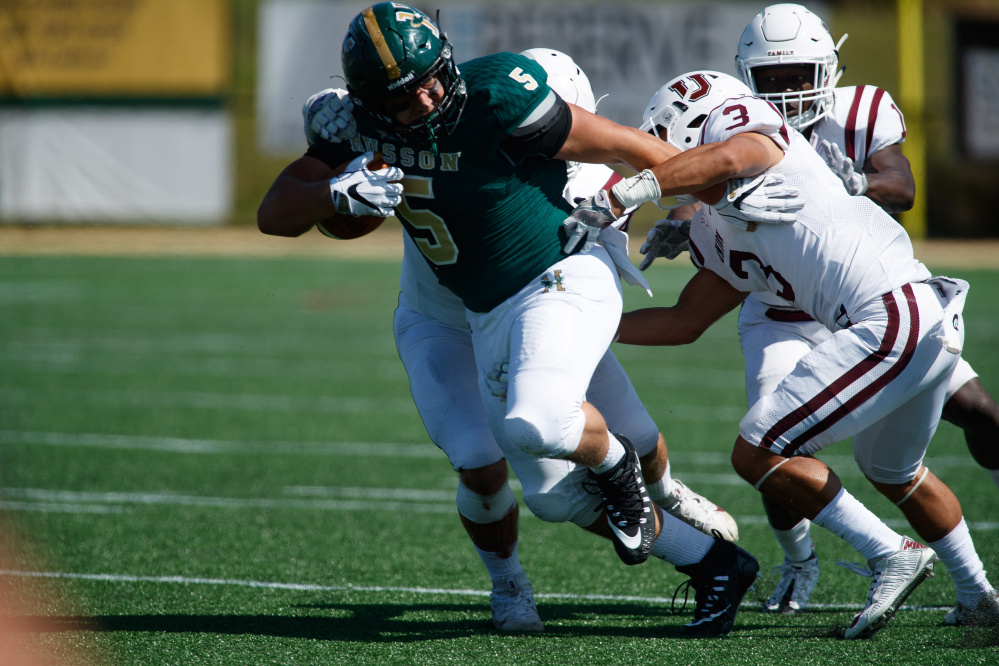 Husson senior tight end DJ Allen, a Skowhegan native, has enjoyed a standout season for the Eagles this fall.