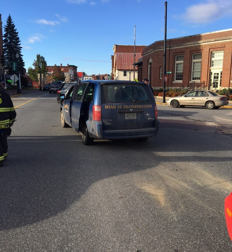 A van carrying schoolchildren was hit in the rear by a Ford Focus that police say was following too closely. One girl in the van complained of neck pain and was taken to Redington-Fairview General Hospital, while three boys who were not injured were taken to the hospital to await their parents.