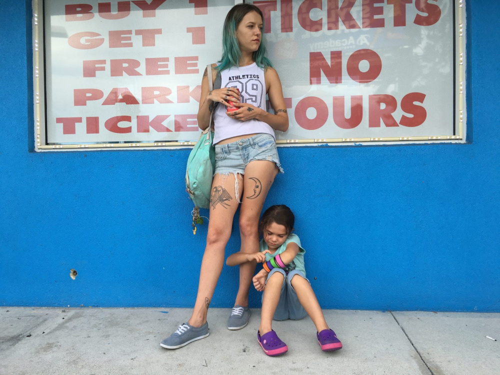 "Bria Vinaite, left, and Brooklynn Prince in a scene from ""The Florida Project."""