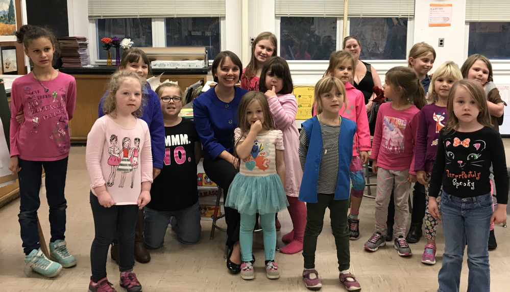 Winthrop's Daisey and Grownie Girl Scout Troop 484 were visited by Sen. Shenna Bellows, D-Manchester, on Oct. 17. Front, from left, are Kelsey Glynn, Willow Mudie, Aurora Sage, Justyna Emery, Haley Poulin and Eve Hughes. Back, from left, are Amelia Freeman, Jennifer Ackerman, Lelia Brown, Bellows, Sarah Currier, Sarah Trask, Janela Emery, Jennifer Everet, parent; Grace Folsom and Caitlyn Dahl.