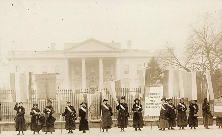 Suffragists picket the White House in 1917. Their years of protest and pressure paid off in 1920, when women were granted the right to vote – the only right explicitly granted to women in the U.S. Constitution.