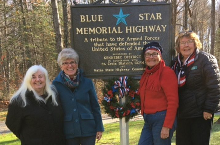 The Kennebec Valley Garden Club placed two wreaths at the Blue Star markers in the Augusta/Hallowell area as a tribute to all veterans. From left are Coral Garrison, Wanda Hendrickson, Debbie Sherman and Karen Foster.