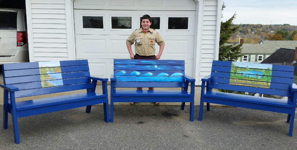 Boy Scout Troop 603's Eric McDonnell, of Augusta, recently finished making three wooden benches as part of his Eagle Scout Project. The benches will be placed next spring at Augusta's three public pools.