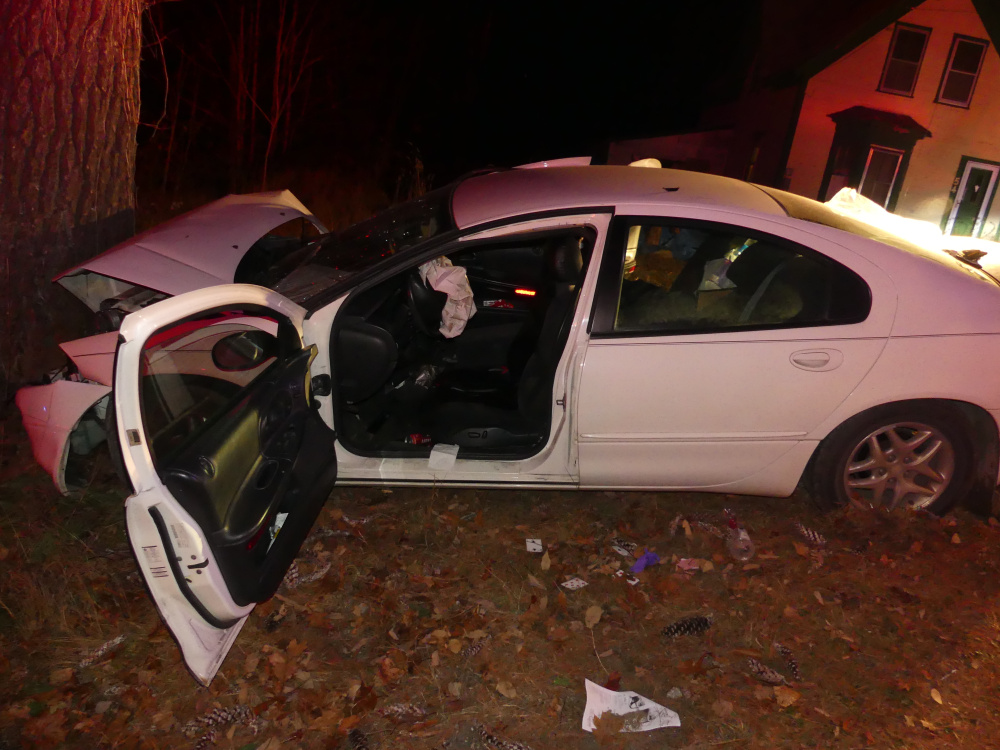 Tabatha Chabot, 34, of Temple, and her daughters were injured Tuesday afternoon when this car, which Chabot was driving, struck a tree on Bridge Street in Phillips.