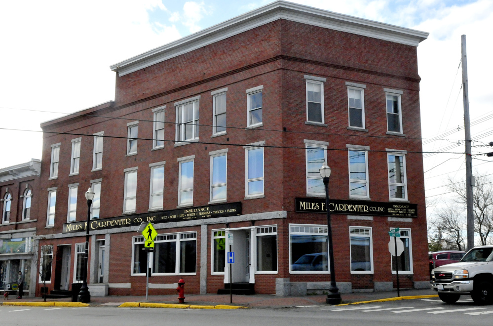 Sam Hight and his cousins Toby and Corey Hight bought the landmark Carpenter Building in downtown Skowhegan in September. The building, pictured here Wednesday, will become the new home of Somerset Public Health, a department of Redington-Fairview General Hospital, which works on preventing substance abuse and obesity and aging-in-place projects.