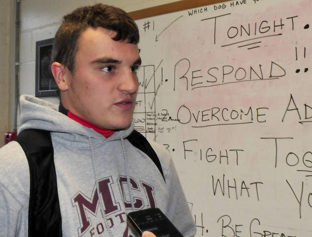 Maine Central Institute running back Adam Bertrand discusses the Class C state championship game Tuesday in Pittsfield.