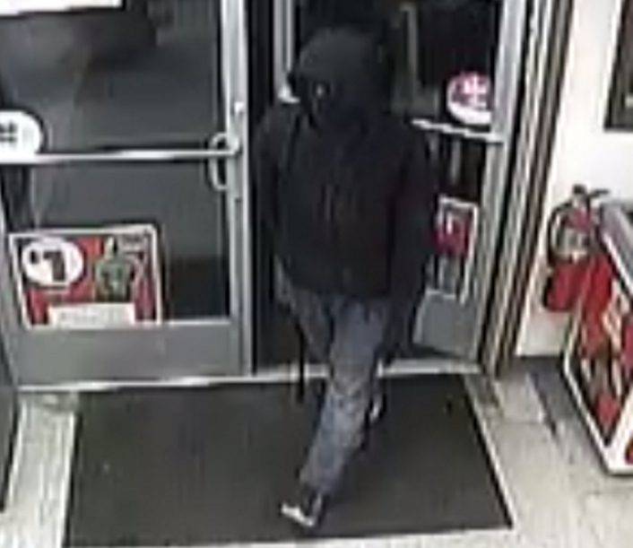 Security camera footage of a suspect in armed robbery of Circle K in China on Sunday.