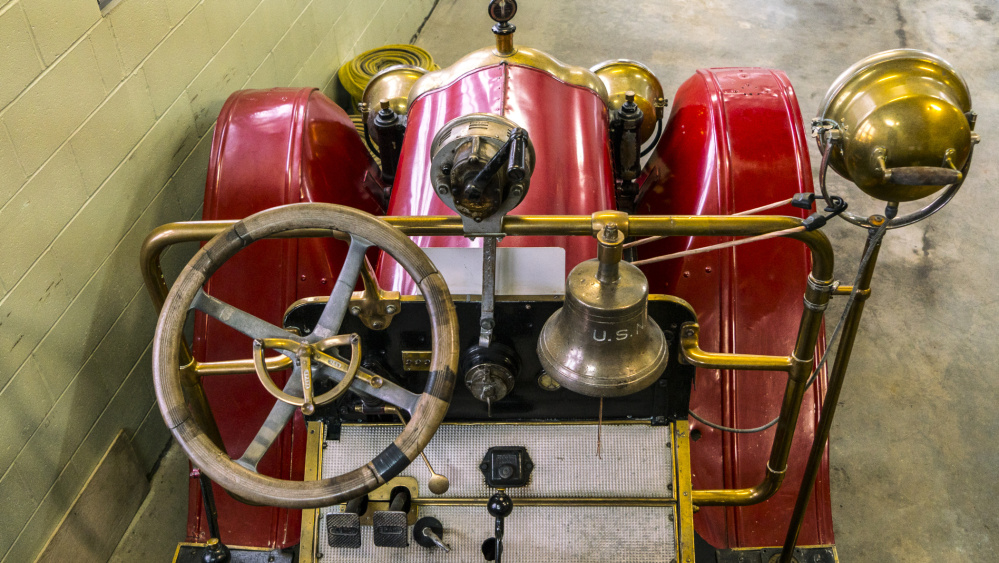 A view of the driver's seat of the 1917 White-Kress firetruck featuring a hand cranked siren, bell and lights. The antique firetruck will be part of a museum at the Hartford Fire Station in Augusta on Water Street, once renovations at the station are completed.