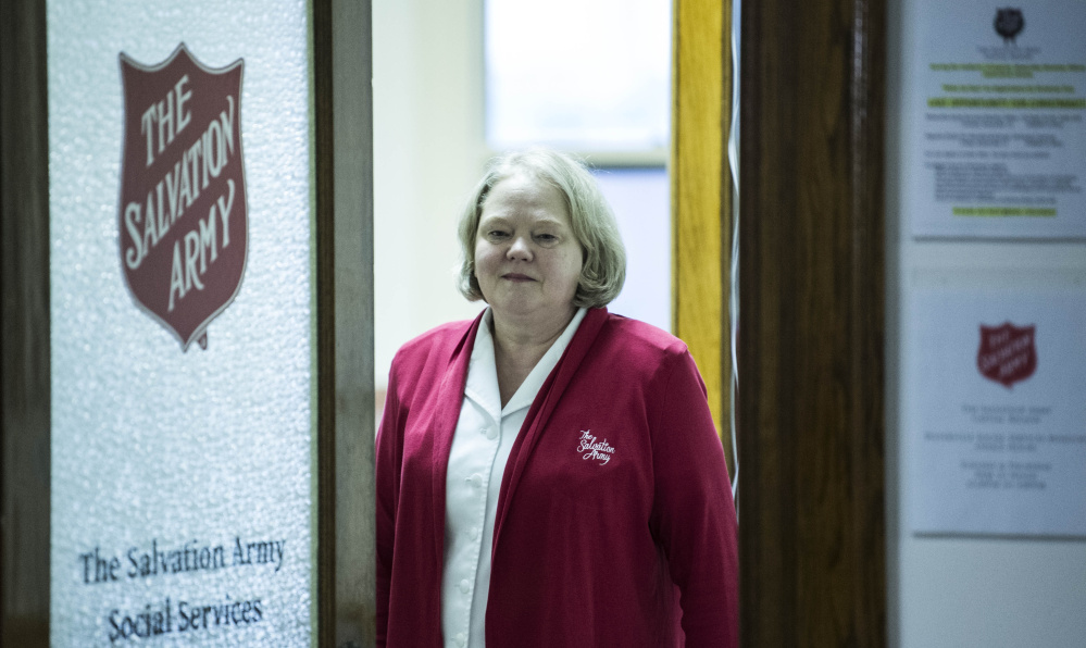 Major Patty Murray, with the Salvation Army, poses for a portrait Thursday at the group's office in downtown Waterville. The office helped more than 200 people in its first month of operation.