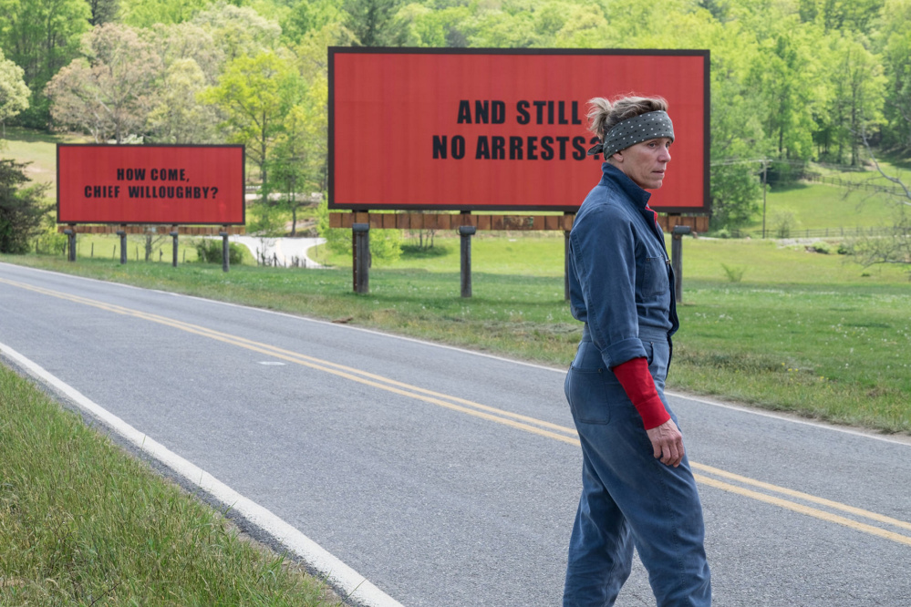 "Frances McDormand in a scene of ""Three Billboards Outside Ebbing, Missouri."""