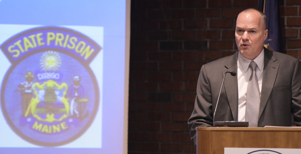 Maine State Prison Warden Randall Liberty speaks on Wednesday at the University of Maine at Augusta.