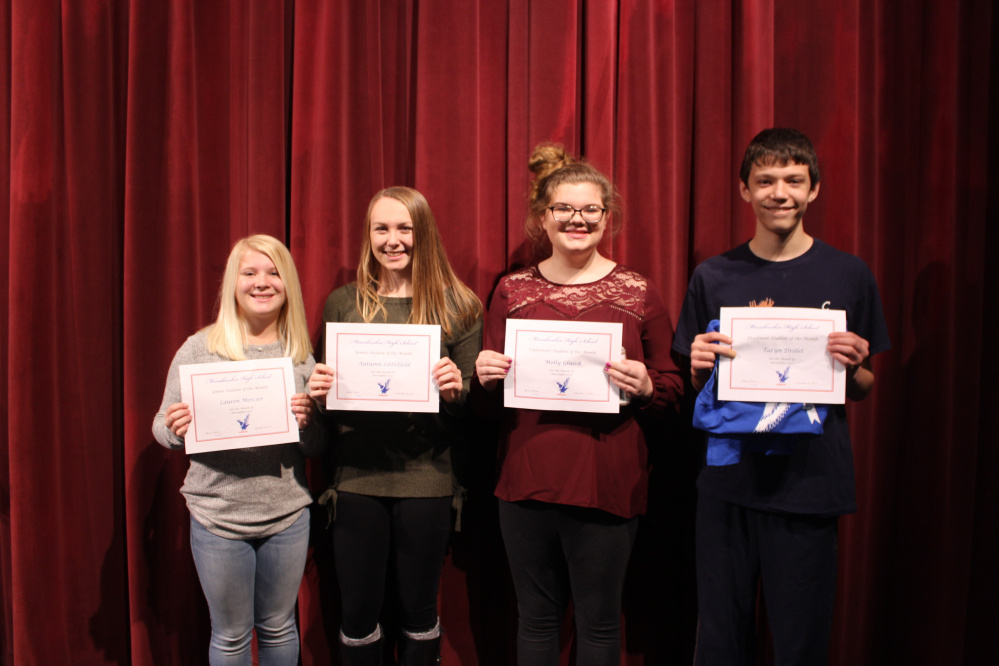 Messalonskee High School's November Students of the Month, from left, are senior Lauren Mercier, junior Autumn Littlefield, sophomore Molly Glueck and freshman Taryn Drolet.
