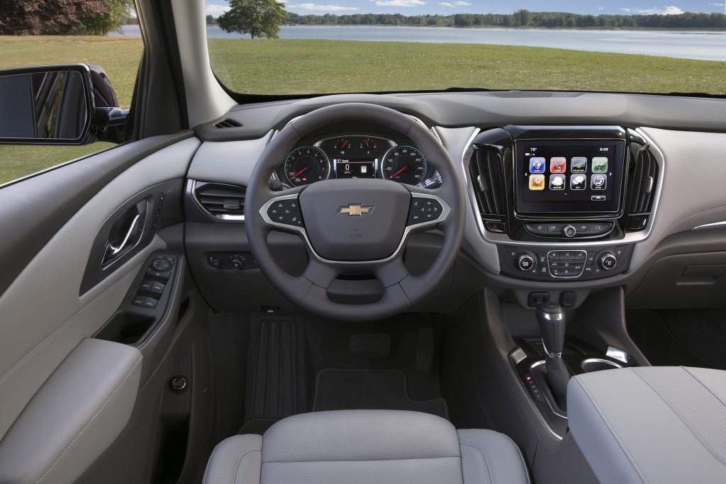 The 2018 Chevy Traverse's dynamic dash display's  being accessible by steering wheel controls and high-fidelity voice commands means the touchscreen doesn't need much touching.
