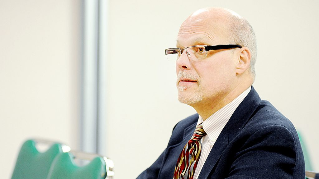 Lewiston School Committee Chairman Jim Handy attends the Maine Charter School Commission meeting in Augusta on Monday. The commission rejected the application of the Lewiston-Auburn Academy Charter School.