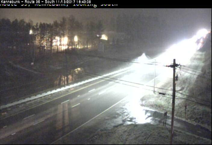 This image is taken from a Maine Turnpike Authority traffic camera on the turnpike southbound in Kennebunk at 6:43 p.m. Monday. The turnpike authority lowered the speed limit because of slick conditions.