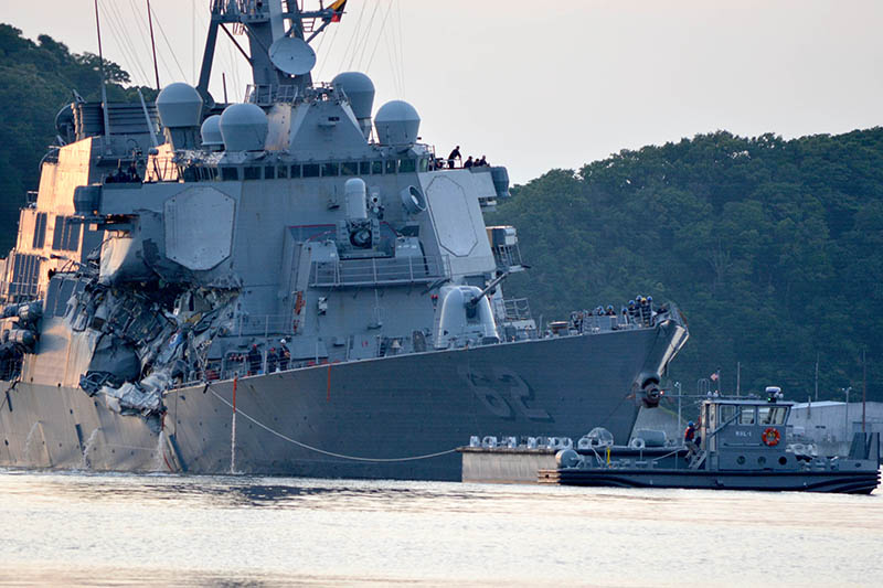 USS Fitzgerald  following a collision with a merchant vessel while operating southwest of Yokosuka, Japan.