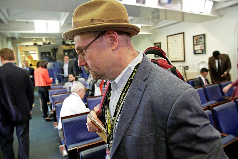 Glenn Thrush, chief White House political correspondent for the The New York Times, works in the White House briefing room on Feb. 24, 2017.