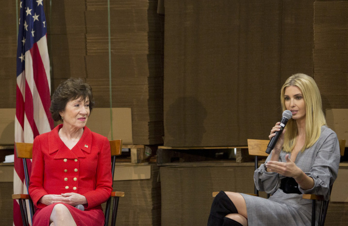 Sen. Susan Collins and Ivanka Trump at a tax reform forum Friday in Biddeford.