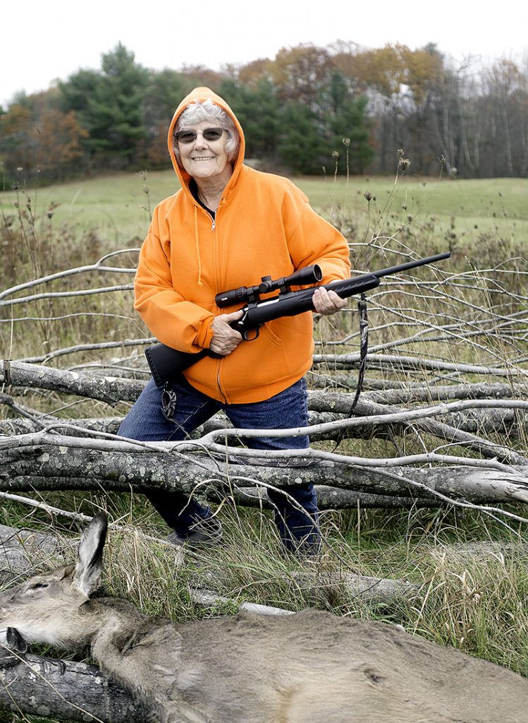 Terry Labbe, 80, of Lewiston shot her first deer, a button buck, on her son's property in Greene. She has never hunted before this deer season. (Daryn Slover/Sun Journal)