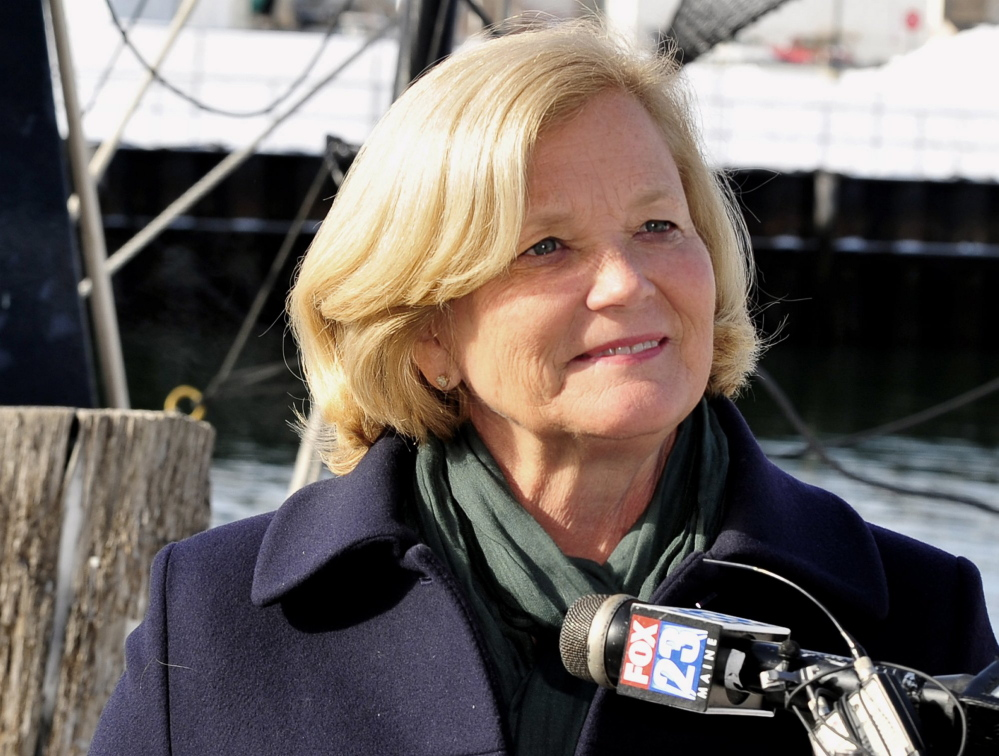 Gordon Chibroski / Staff Photographer.  Friday, March 2, 2012. Chellie Pingree listens to a question from the media as she talks about her decision to run for Olympia Snowe's Senate seat at a Press Conference held on the Portland Fish Pier just outside her office.