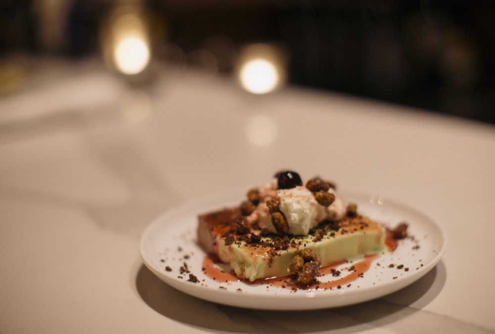 Spumoni with house-made chocolate, cherry and pistachio ice cream, amaro cherries, fresh whipped cream, candied pistachios and chocolate crumble.