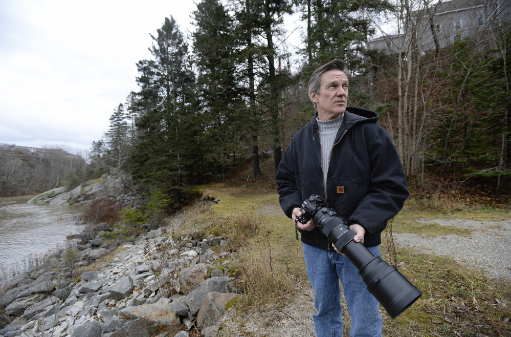 "Gerry Monteux, looking for eagles along the Union River in Ellsworth, traded in his microphone for a camera, and despite a tough transition would not change a thing. ""I lost my job. I lost my wife. I went through hell. But looking back it was the best thing that ever happened to me,"" he said."