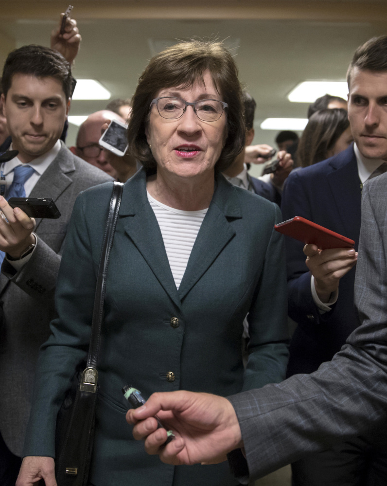 Sen. Susan Collins, R-Maine, says she will be looking closely at revisions in the tax plan.