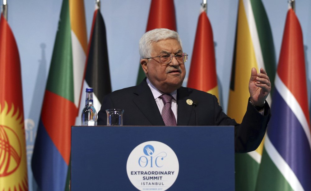Palestinian President Mahmoud Abbas speaks at a news conference following a summit of 57 Arab nations in Istanbul on Wednesday.