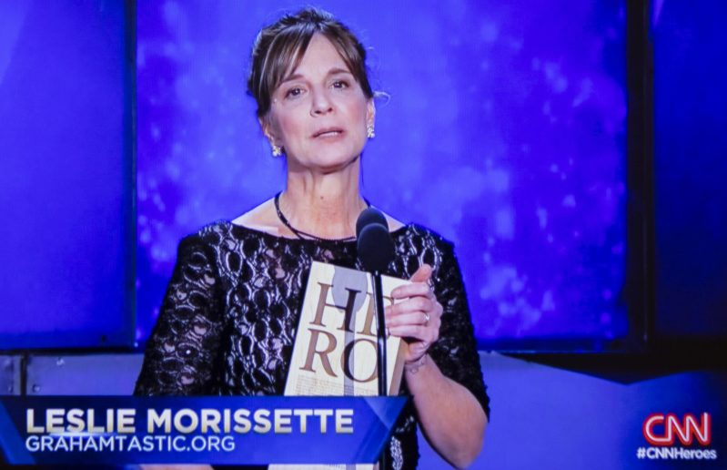 Leslie Morissette of Springvale speaks during the televised CNN Heroes show Sunday.