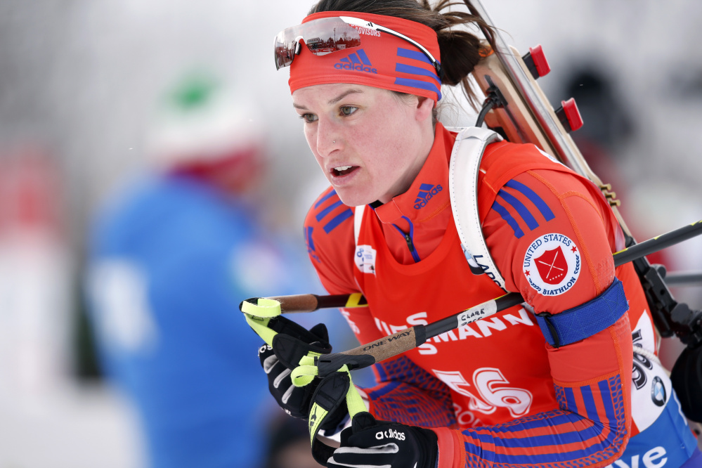 Clare Egan of Cape Elizabeth competes in the sprint competition during the World Cup Biathlon last February in Presque Isle.