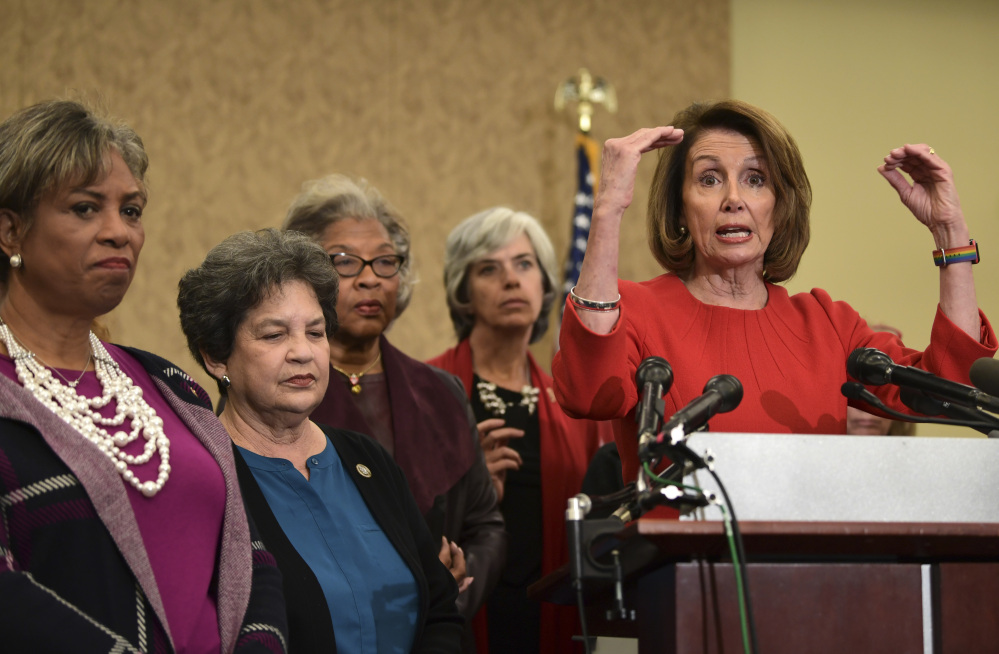 "House Minority Leader Nancy Pelosi of Calif., right, and fellow Democratic congresswomen warn Wednesday that they may vote against a short-term spending bill unless Republicans ""show respect for our values and priorities"" on issues like the Children's Health Insurance Program."