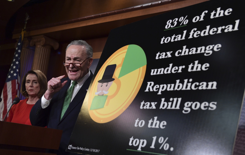 Senate Minority Leader Sen. Chuck Schumer of N.Y., and House Minority Leader Nancy Pelosi of Calif., call the legislation a boon to the rich that leaves middle-class and working Americans behind.