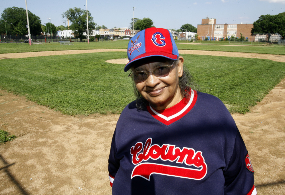 "Mamie Johnson at the ballpark named for her in Washington. She wasn't allowed to try out for the all-white women's pro league portrayed in the 1992 film ""A League of Their Own."""