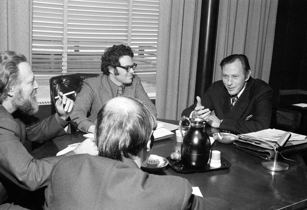 Clifford Irving, author of an autobiography on industrialist Howard Hughes, planned to be published by McGraw-Hill, meets with newsmen at McGraw-Hill offices in New York on Jan. 10, 1972. Hughes, in a telephone interview, questioned Irving's authenticity.