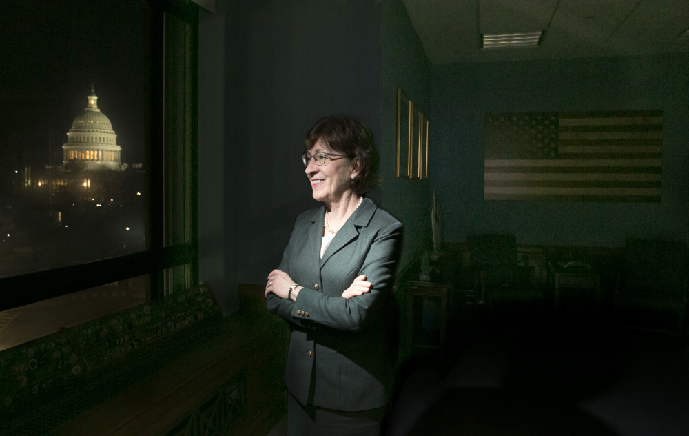 Sen. Susan Collins in her Washington, D.C. office, which has a view of the Capitol. Her swing vote on health care and support of the tax bill has kept her in the spotlight in Congress and in Maine.