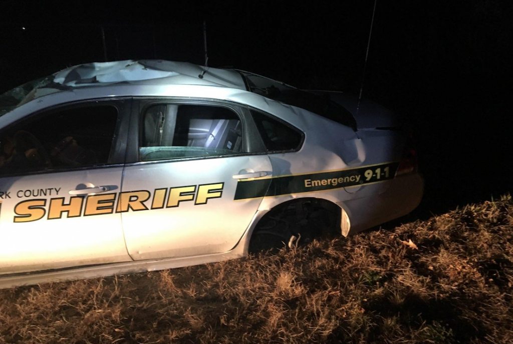 The damage to a patrol car that rolled over Saturday night on Quarry Road in Limerick.