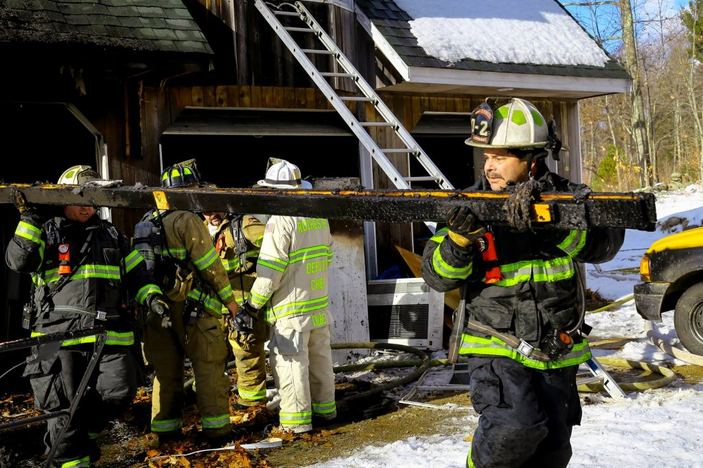 Members of the South Berwick Fire Department help the Lebanon department at a fatal fire in Shapleigh.