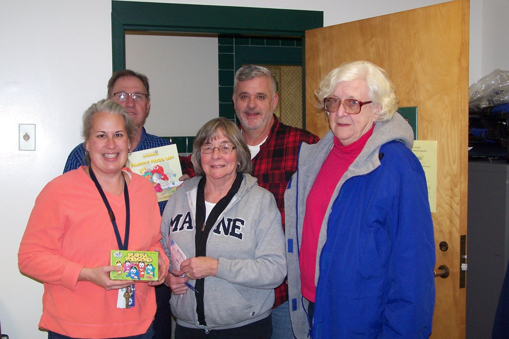 Franklin County Retired Educators recently participated in the Day of Caring initiated by the Maine Education Association Retired. In front, from left, are teacher Danielle Mathieu with FCRE members Jean Mitchell and Joanne Dunlap. In back, from left, are Phillips Elementary School Principal Jeff Pillsbury and teacher Phil Olivieri.