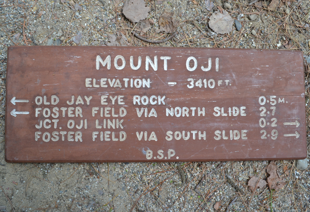 This vintage sign from Mount OJI is one of 10 signs included in the inaugural Friends of Baxter State Park sign auction.