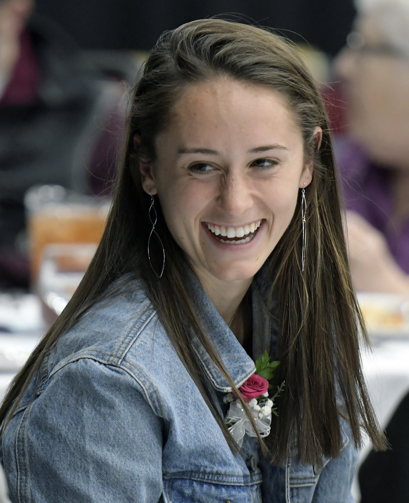 Messalonskee senior Haley Lowell looks on during the annual Maine Field Hockey Association banquet Sunday at the Augusta Civic Center. Lowell was named Miss Maine Field Hockey.