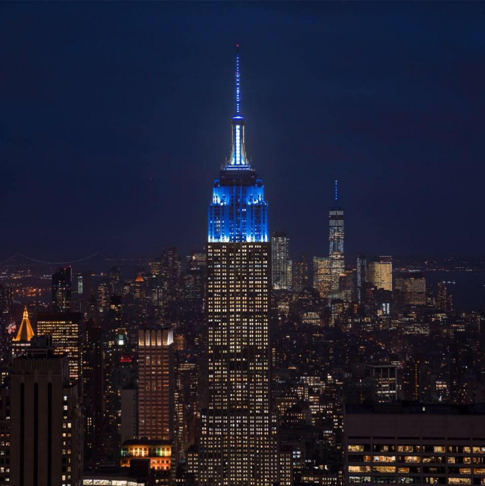 Through the generosity of a Colby trustee, the Empire State Building is lit up Tuesday night in Colby blue, in an effort to draw attention to the college's capital campaign.