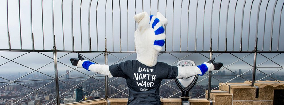 A Colby mule takes in the vista of New York recently from the observation deck of the Empire State Building as the college spreads the word of its capital campaign.