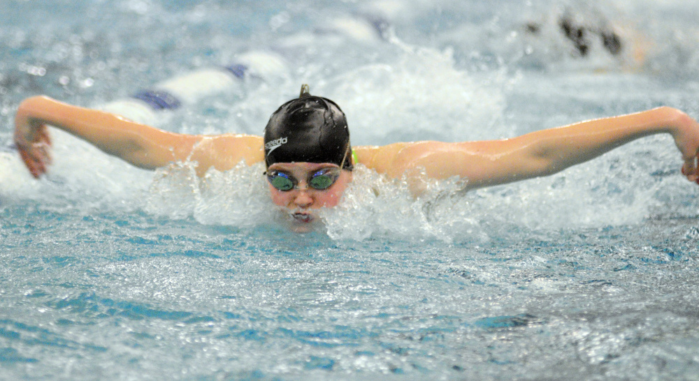 Making waves: Cony's Talia Jorgensen practices the butterfly during a practice last season at the Kennebec Valley YMCA in Augusta.